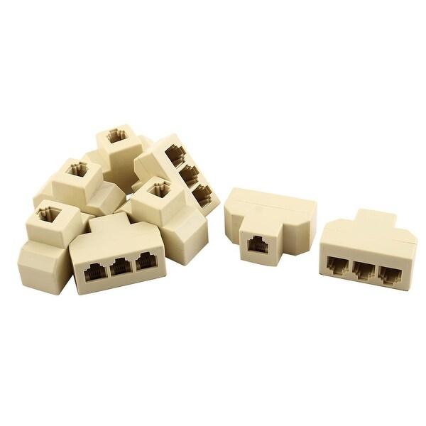 Plastic RJ11 1 to 3 Female Telephone Ethernet Connector Splitter Beige 8pcs