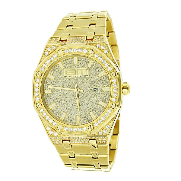 Gold Tone Mens Watch Iced Out Lab  Diamonds Stainless Steel Hip Hop Bling