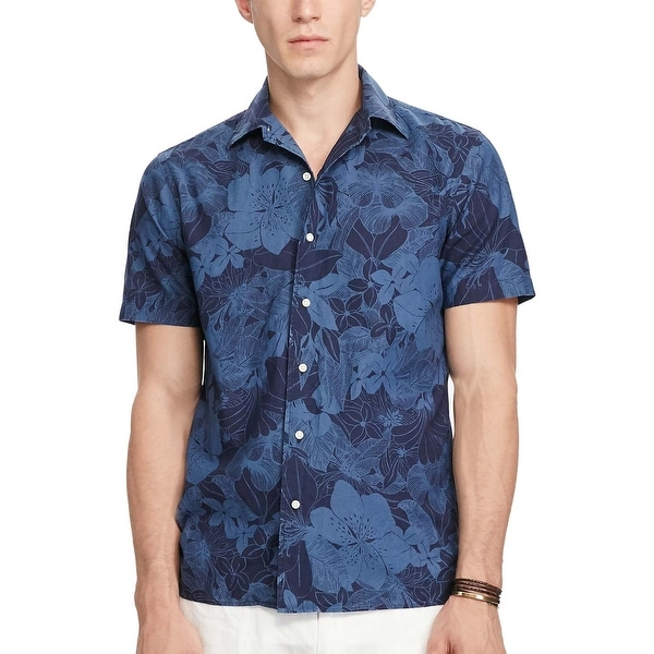 9850d89ad44e51 Shop Polo Ralph Lauren Slim Fit Navy Blue Floral Short Sleeve Shirt Small S  - Free Shipping Today - Overstock - 19741017