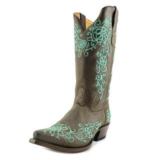 Roper Bouquet Snip Toe Women Pointed Toe Leather Brown Western Boot