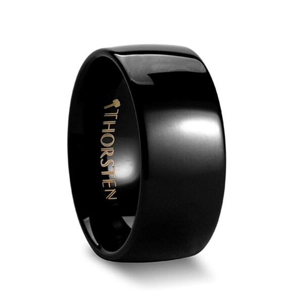 THORSTEN - RAVEN Domed Black Tungsten Wedding Ring - 10mm