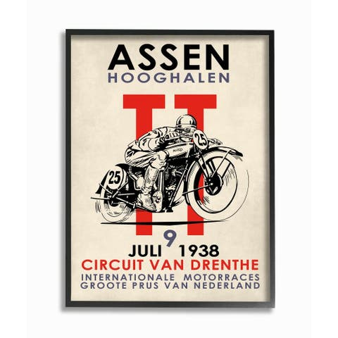 Stupell Industries Vintage Racing Sport Circuit Poster Motorcycle European Framed Wall Art