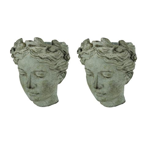Distressed Cement Classic Greek Lady Head Indoor/Outdoor Hanging Planters Set - 7.5 X 6.75 X 4.75 inches