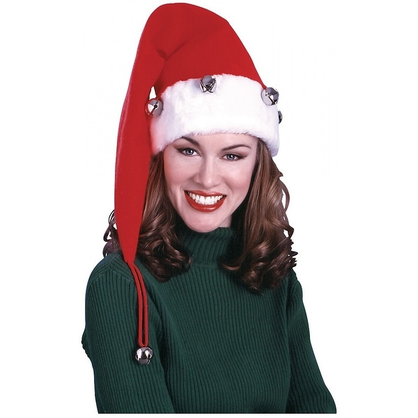 Extra Long Santa Hat with Bells Adult Costume Accessory