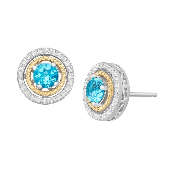 1 1/4 ct Natural Swiss Blue Topaz & 1/8 Diamond Stud Earrings in Sterling Silver and 14K Gold