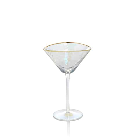 Kampari Triangular Martini Glasses with Gold Rim, Set of 4