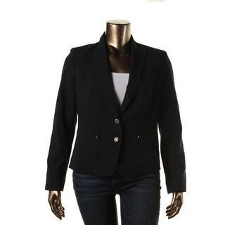Anne Klein Womens Long Sleeves Peak Collar Two-Button Blazer