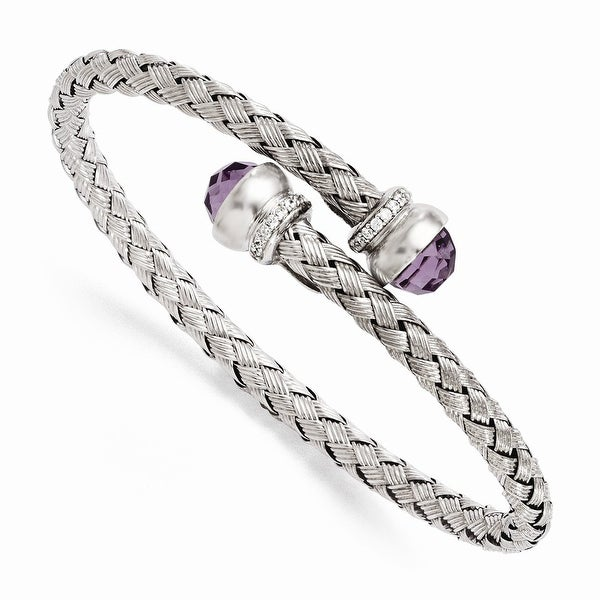 Italian Sterling Silver Amethyst and CZ Braided Flexible Bangle