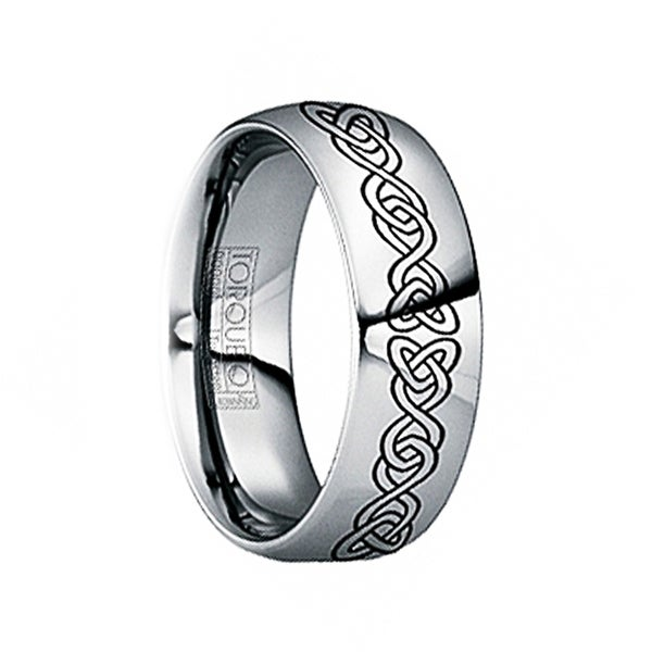 FLAVIUS Polished Tungsten Carbide Wedding Band with Engraved Celtic Pattern by Crown Ring