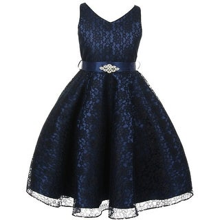 Flower Girl Dress V-Neck Lace Rhinestone Brooch Navy GG 3511
