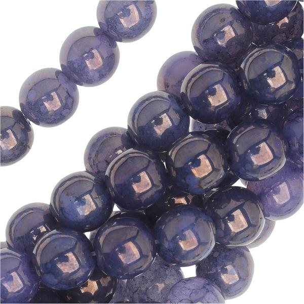 Czech Glass Beads. Round Druks 6mm, 1 Strand, Milky Alexandrite Moon Dust