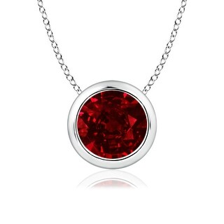 Angara Bezel Set Round Ruby Solitaire Pendant - Red