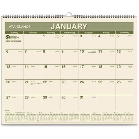 15 x 12 in. Recycled Wall Calendars