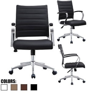 2xhome Office Chairs Mid Back Ribbed PU Leather Black Executive Task Work Conference With Arms Wheels Tilt Swivel Rolling