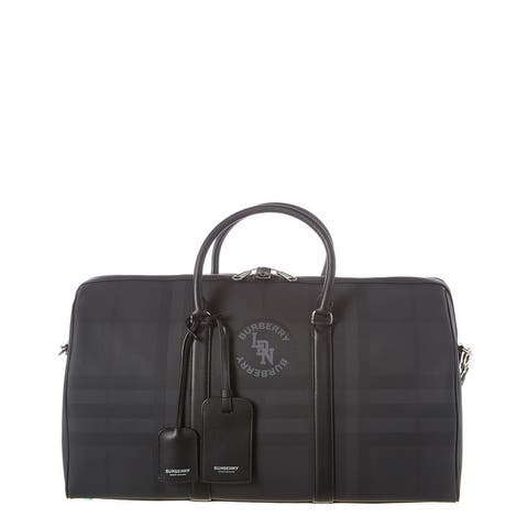 Burberry Logo Graphic London Check And Leather Holdall Duffel Bag - NoSize
