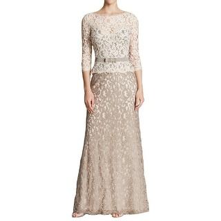 Tadashi Shoji Womens Evening Dress Lace 3/4 Sleeves