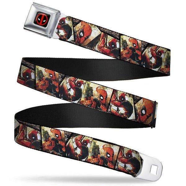 Marvel Universe Deadpool Logo Full Color Black Red White Deadpool Action Seatbelt Belt