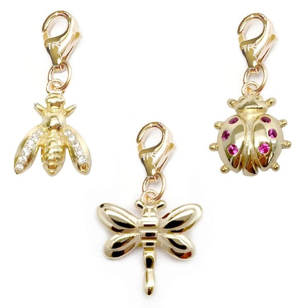 Julieta Jewelry Dragonfly, Bee, Ladybug 14k Gold Over Sterling Silver Clip-On Charm Set