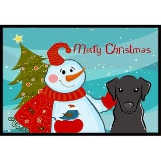 Carolines Treasures BB1855MAT Snowman With Black Labrador Indoor & Outdoor Mat 18 x 27 in.