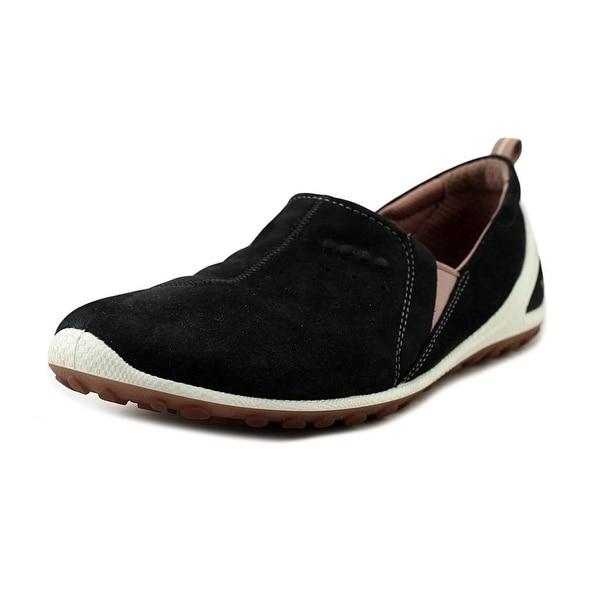 Ecco Biom Lite Gamma Slip On Women Round Toe Suede Black Sneakers