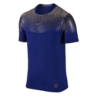 Nike Pro NEW Blue Mens Size Large L Dri-Fit Embossed Texture T-Shirt