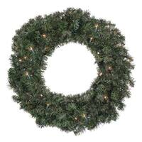 "24"" Pre-Lit Canadian Pine Artificial Christmas Wreath - Clear Lights - green"