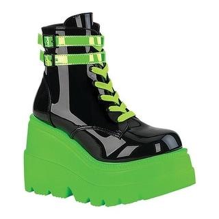 Demonia Women's Shaker 52 Platform Ankle Boot Black Patent/UV Neon Green