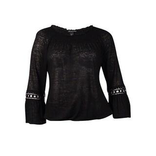 INC International Concepts Women's Beaded Bell Sleeve Top (M, Deep Black)