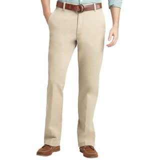 Izod Saltwater Straight Fit Flat Front Chinos Pants Stone Solid 32 x 32