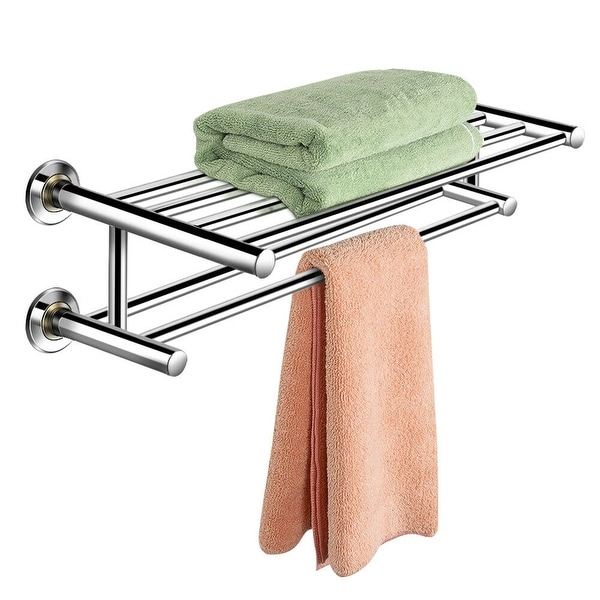 Costway Wall Mounted Towel Rack Bathroom Hotel Rail Holder Storage