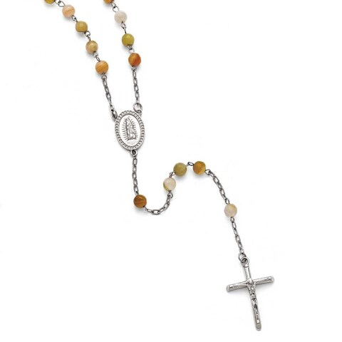 Chisel Stainless Steel Polished Agate Rosary - 31 in