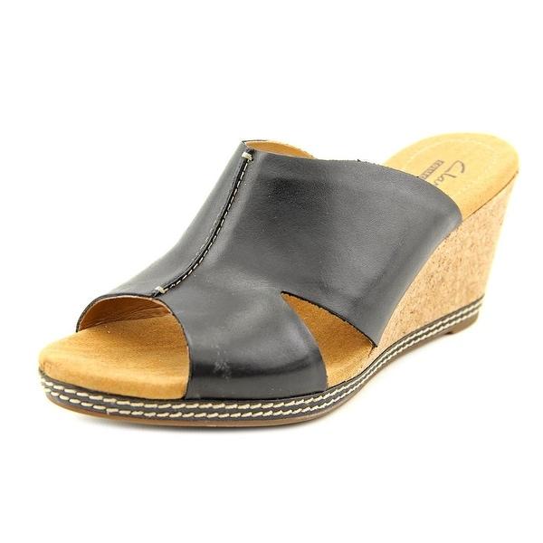 Clarks Hello Island Women W Open Toe Leather Black Wedge Sandal