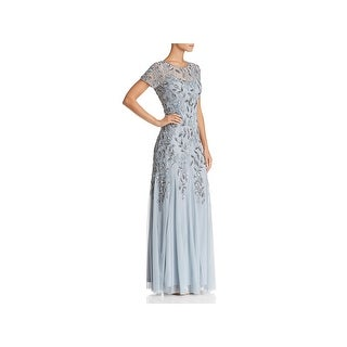 Adrianna Papell Womens Evening Dress Beaded Floral Print