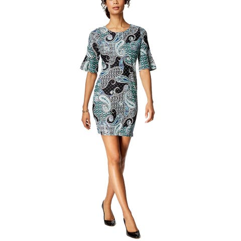 Charter Club Women's Printed Elbow Sleeve Shift Dress Deep Black Combo Size Extra Small