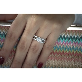 Link to Sterling Silver 1/2ct Round Baguette Cubic Zirconia Ring Guard Similar Items in Rings