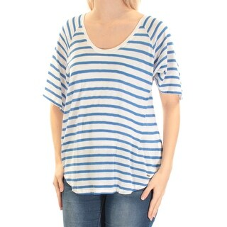 Womens Blue Striped Short Sleeve Scoop Neck Top Size S