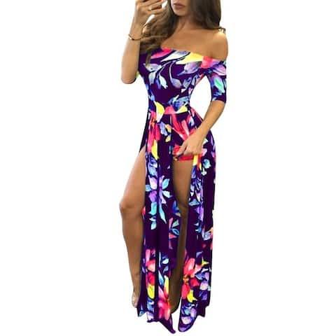 Large Size S-3Xl Digital Printed One-Piece Split Dress