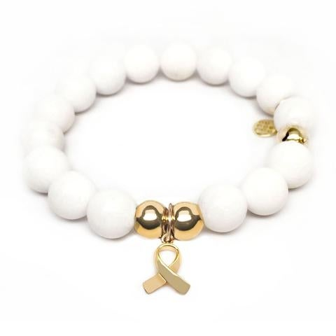Julieta Jewelry Ribbon Charm White Jade Bracelet