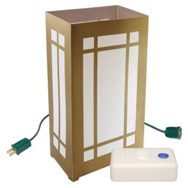 Set of 10 Lighted Golden Lantern Luminaria Pathway Markers Kit with LumaBase - CLEAR