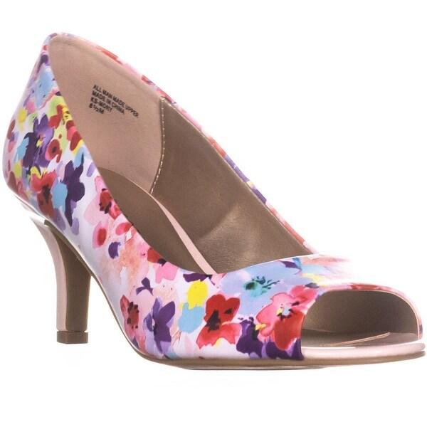 KS35 Mory Peep Toe Pump Heels, Pink Floral - 8.5 us