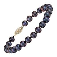 Honora 6-7mm Freshwater Cultured Black Pearl Strand Bracelet in 14K Gold, 7.25""