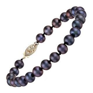 "Honora 6-7mm Freshwater Cultured Black Pearl Strand Bracelet in 14K Gold, 7.25"""