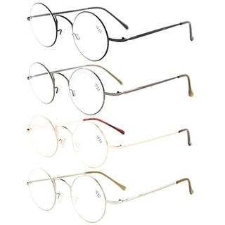 Eyekepper 4-pack Readers Lightweight Round Metal Circle Reading Glasses +1.75