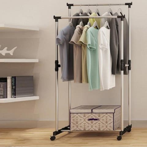 32'' Vertically & Horizontally-stretching Stand Clothes Rack(Single/Double-bar)