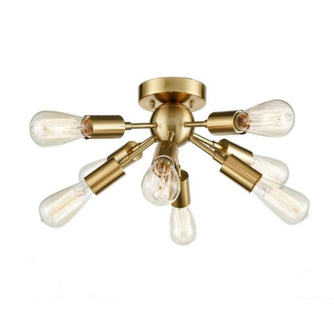 8 light antique sputnik ceiling light with brass finish