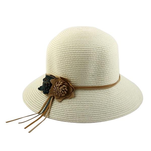 7a56074cc24 Outdoor Travel Flower Decor Wide Floppy Brim Beach Straw Cap Sun Hat Off  White