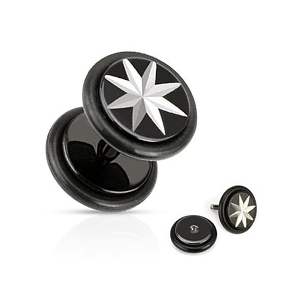 Star Grooved Cut Fake Plug with O-Rings 316L Surgical Steel Black IP (Sold Individually)