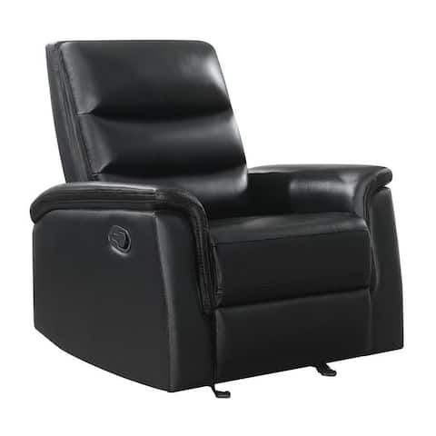 Glider Recliner with Channel Tufted Back, Black