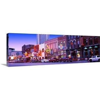 """""""Street scene at dusk, Nashville, Tennessee"""" Canvas Wall Art"""