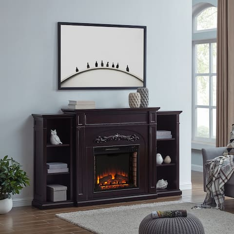 SEI Furniture Chandler Traditional Brown Wood Electric Fireplace with Bookcases
